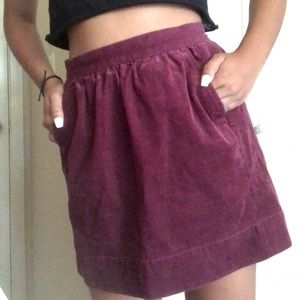 burgundy CORDUROY skirt with POCKETS